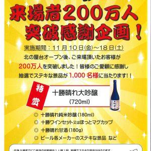 北の屋台来場者200万人突破記念イベントのお知らせ!